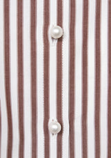 Puff-Sleeve Mandarin-Collared Shirt in Brown Stripe