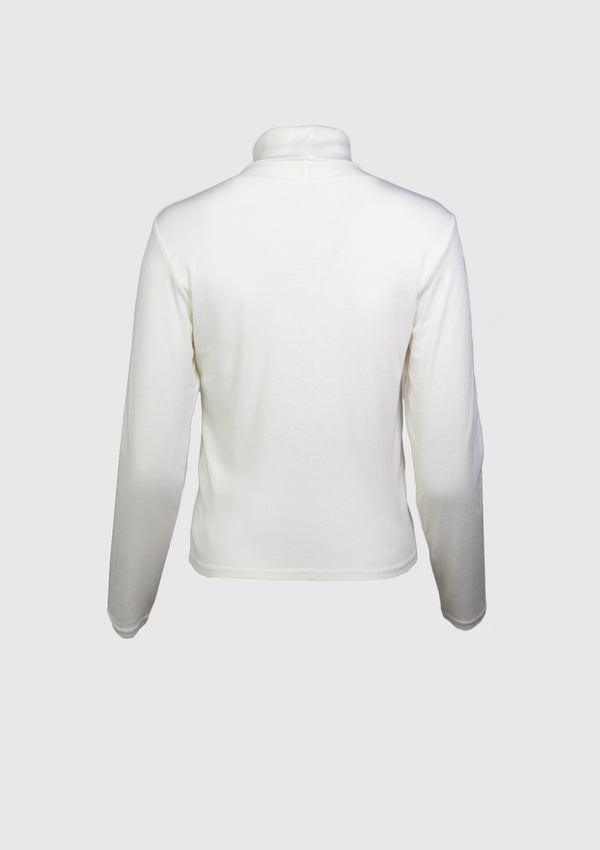 Long-Sleeve Turtleneck Tee in Off White