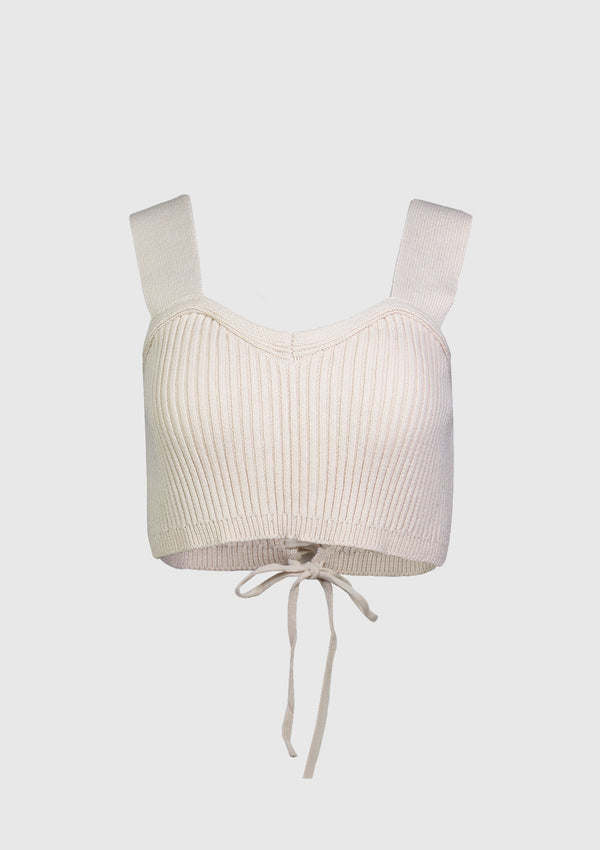 Lace-Up Knitted Bustier in Beige