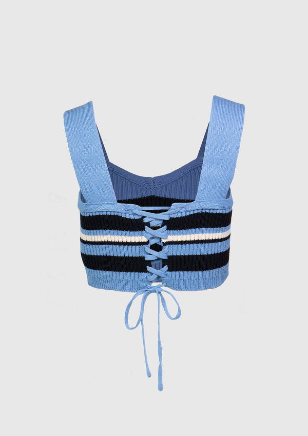 Lace-Up Knitted Bustier in Blue Border