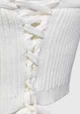 Lace-Up Knitted Bustier in White