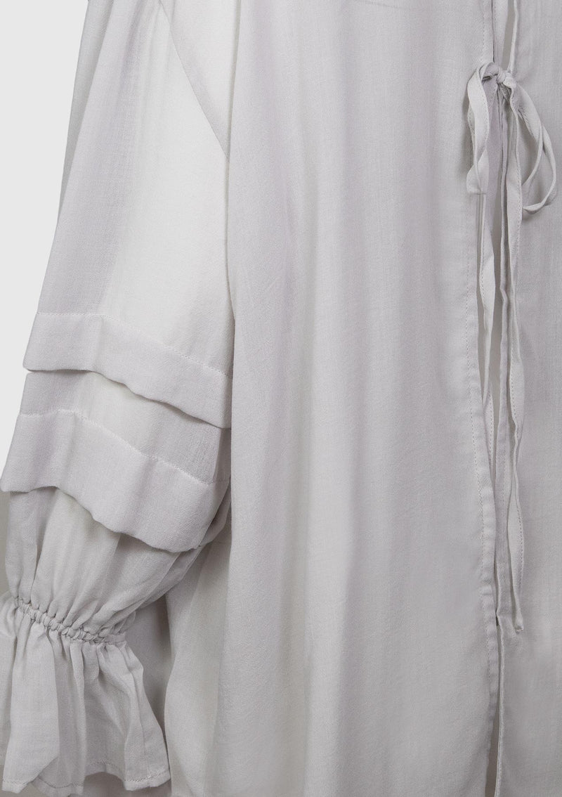 Lace-Up Back Sheer Tunic with Long Puff Sleeves in Light Grey