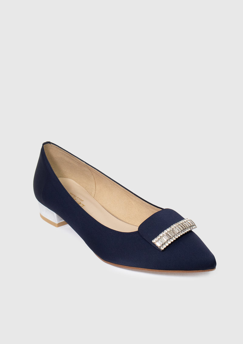 Bejewelled Pointed Low Heel Pumps in Navy