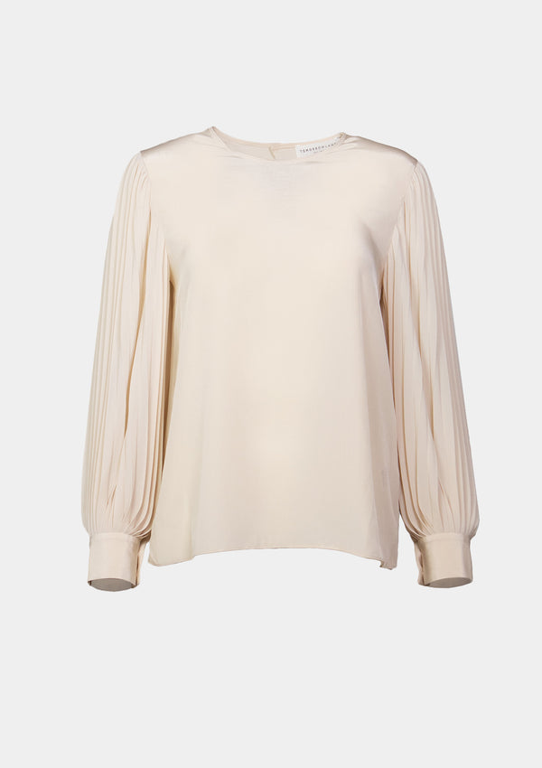 Round-Neck Chiffon Blouse with Pleated Lantern Sleeves in Light Yellow