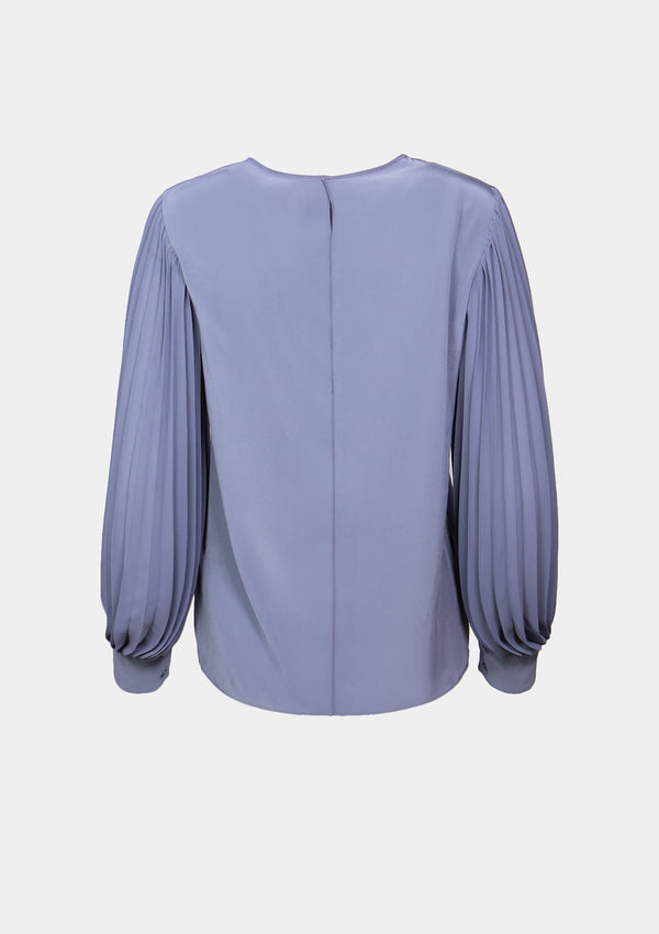 Round-Neck Chiffon Blouse with Pleated Lantern Sleeves in Light Purple
