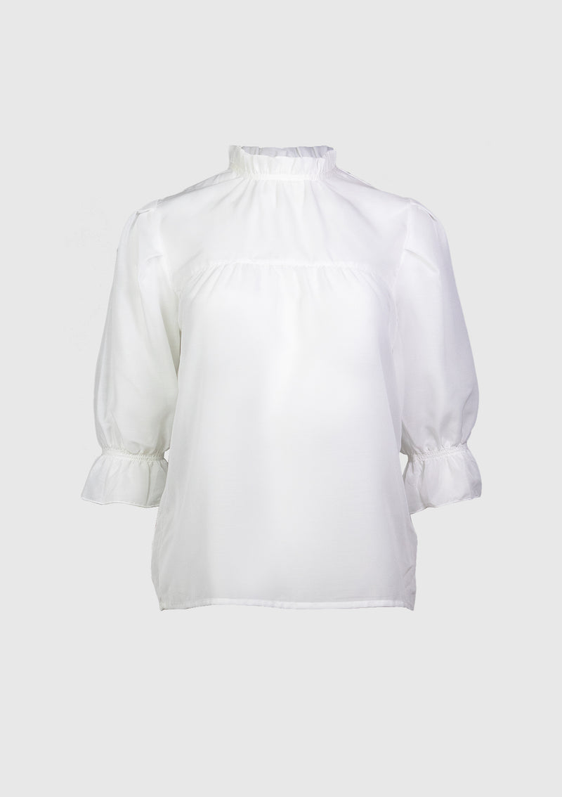 Ruffle-Neck Blouse with Puff Sleeves in Off White