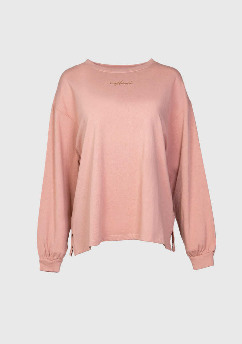 Long Puff-Sleeve Slouchy Tee in Pink