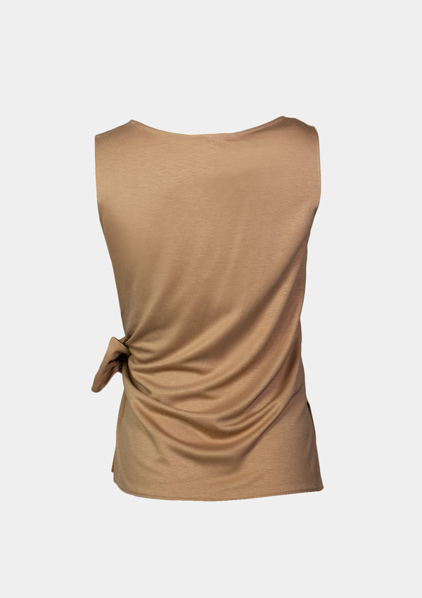 Round Neck Sleeveless Blouse with Side Ribbon Drape in Beige