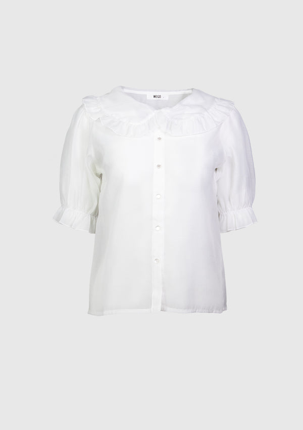 Ruffled Peter Pan Collar Sheer Blouse with Puff Sleeves in White