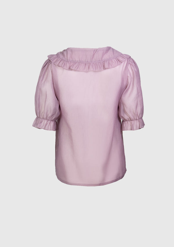 Ruffled Peter Pan Collar Sheer Blouse with Puff Sleeves in Light Purple
