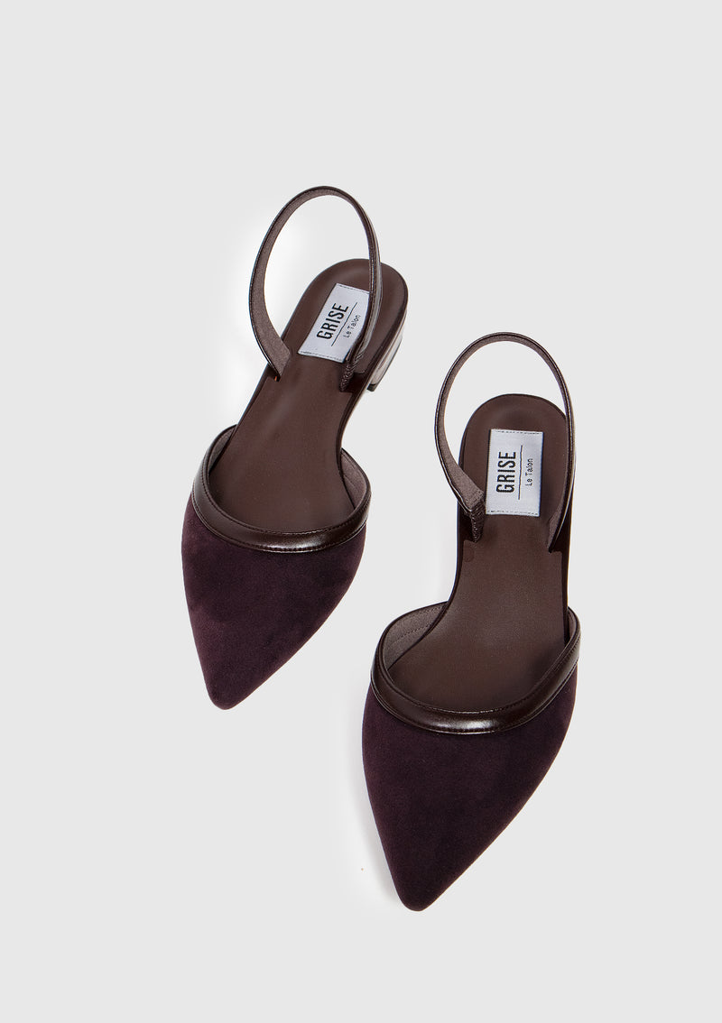 Pointed Slingback Sandals in Brown Other