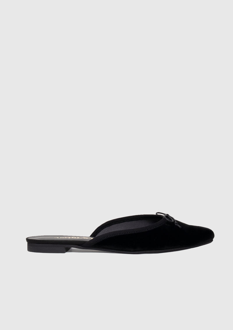 Ballerina Mules with Bow in Black