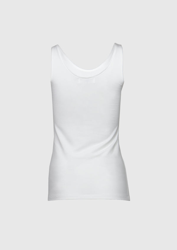 Cotton-Blend U-Neck Tank Top in White