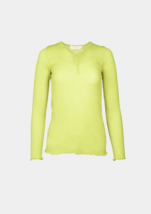 Sheer Ribbed Knit Wool Henley-Neck Tee in Light Yellow