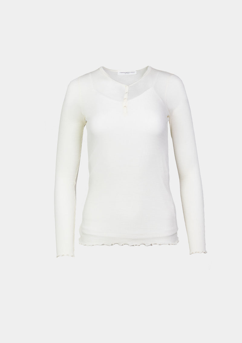 Sheer Ribbed Knit Wool Henley-Neck Tee in White