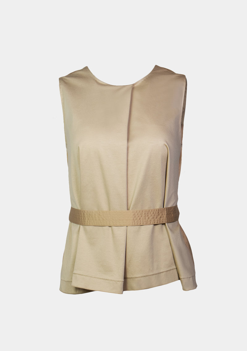 Sleeveless Bi-Fabric V-Back Blouse with Sash in Beige
