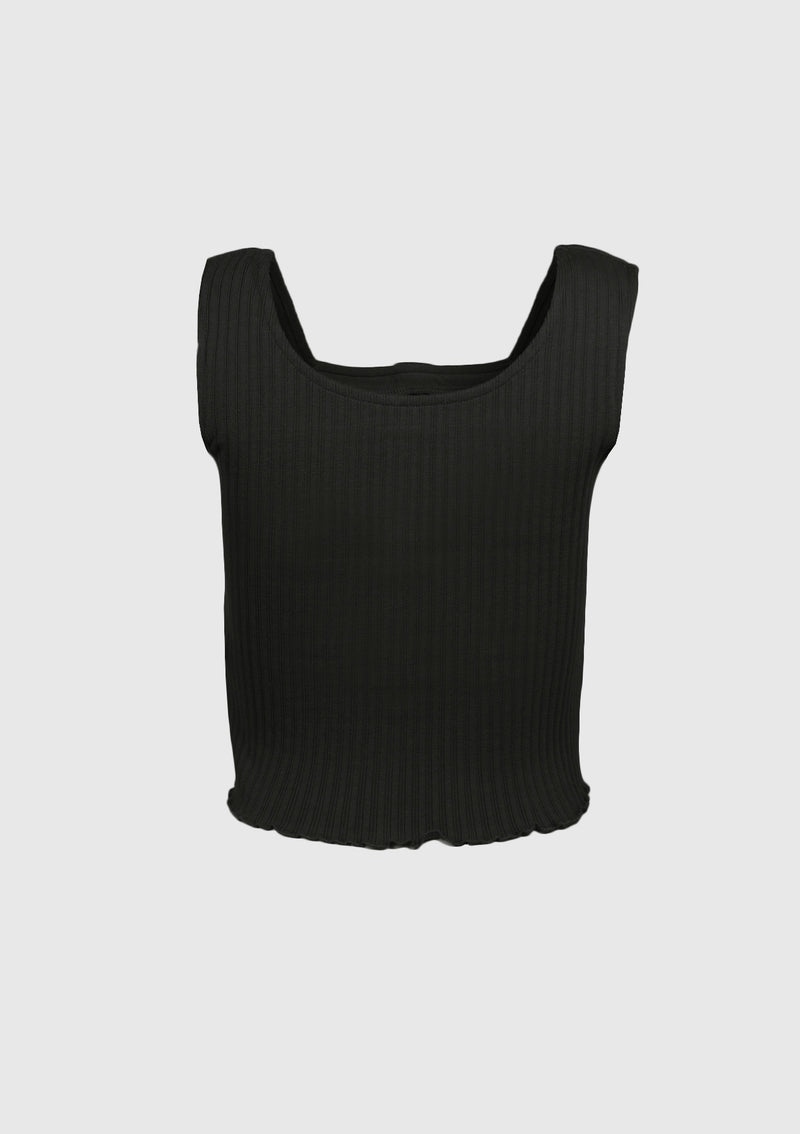 2-Way Square Neck Buttoned Tank in Black