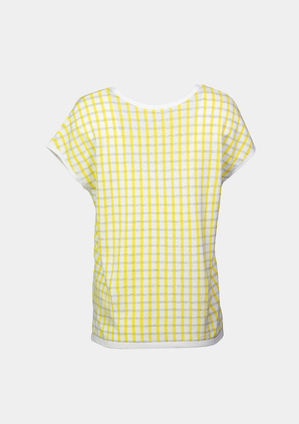 Short-Sleeved U-Neck Light Sweater in Yellow Check
