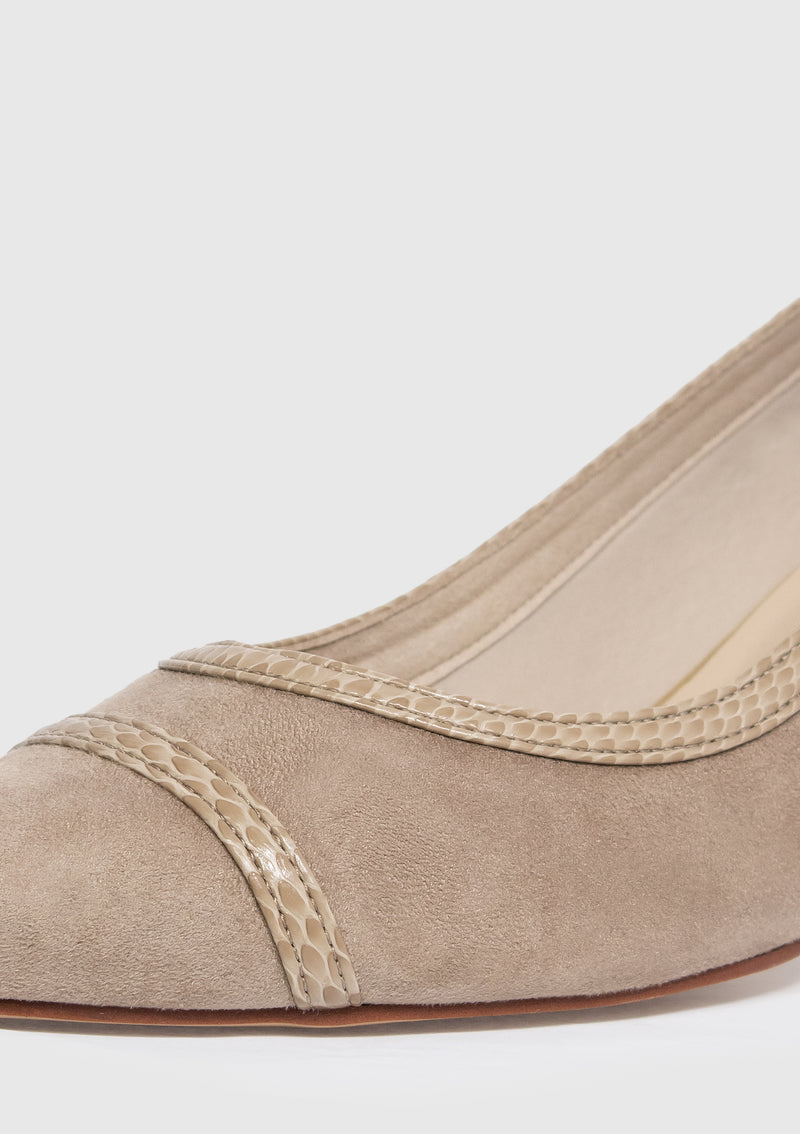 Faux Suede Point-Toe Heeled Pumps in Beige