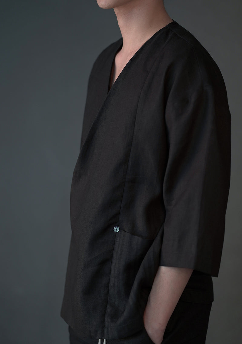 Wrapped Button Short Kimono in Black