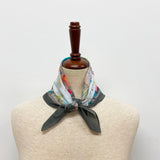 Cotton Printed Scarf in Grey Multi