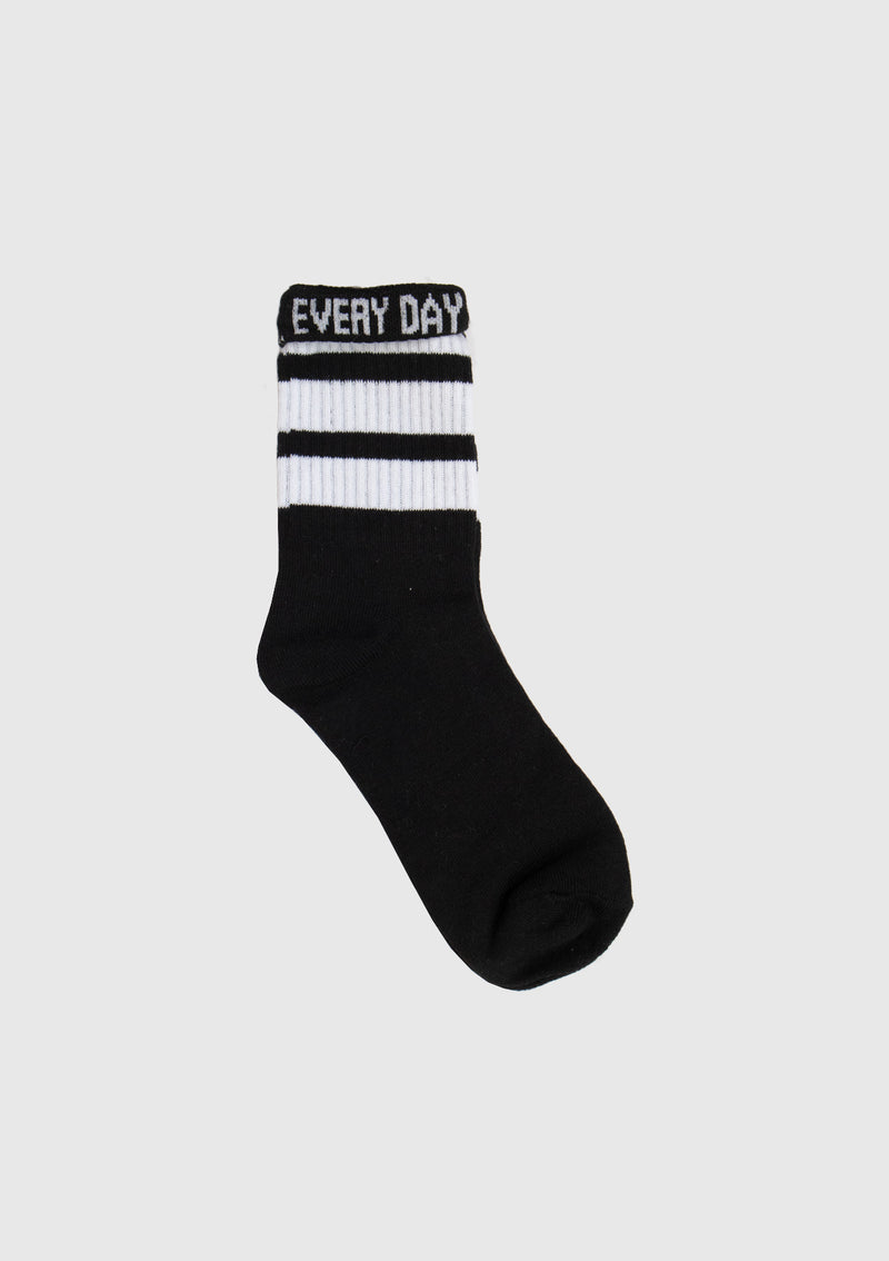 Striped Short Socks with Slogan Fold-Down Cuff in Black Other