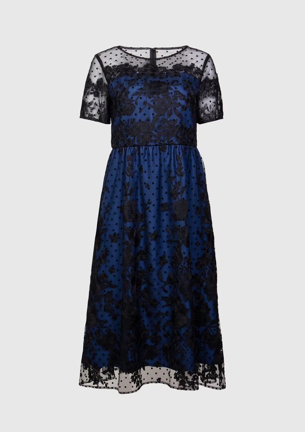 Polka Dot x Floral Lace Fit & Flare Dress in Navy