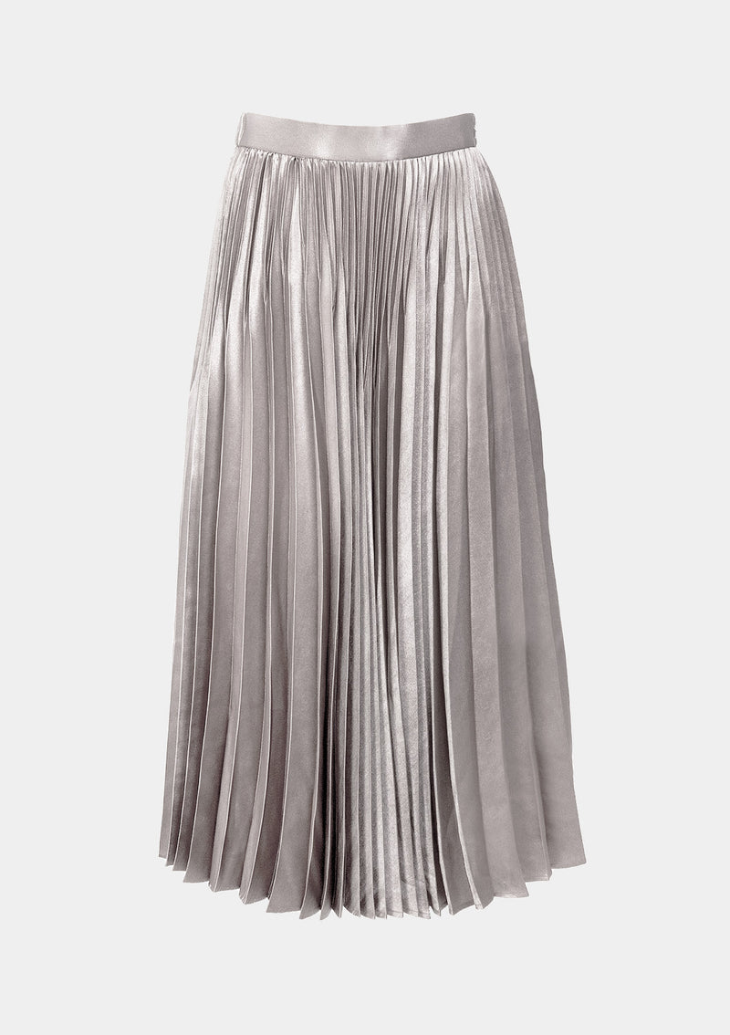 Foil-Satin Pleated Maxi Skirt in Silver