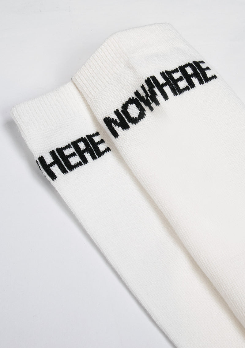 NOWHERE Logo Long Socks in White