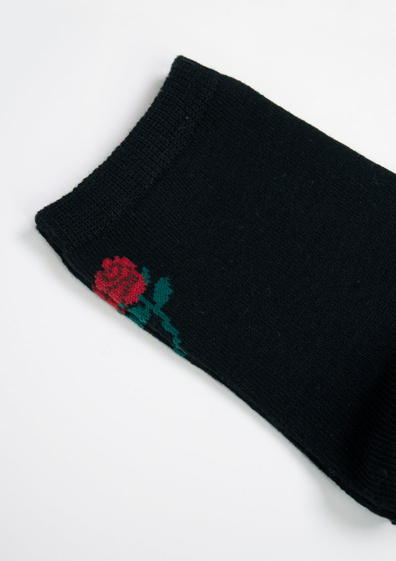 Rose Motif Short Socks in Black