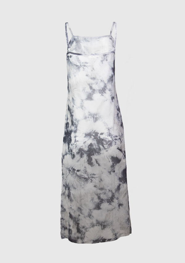 Sheer Marbled Tie-Dye Camisole Dress in Grey