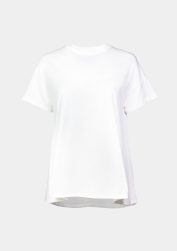 Drop-Shoulder Flare Tee in White