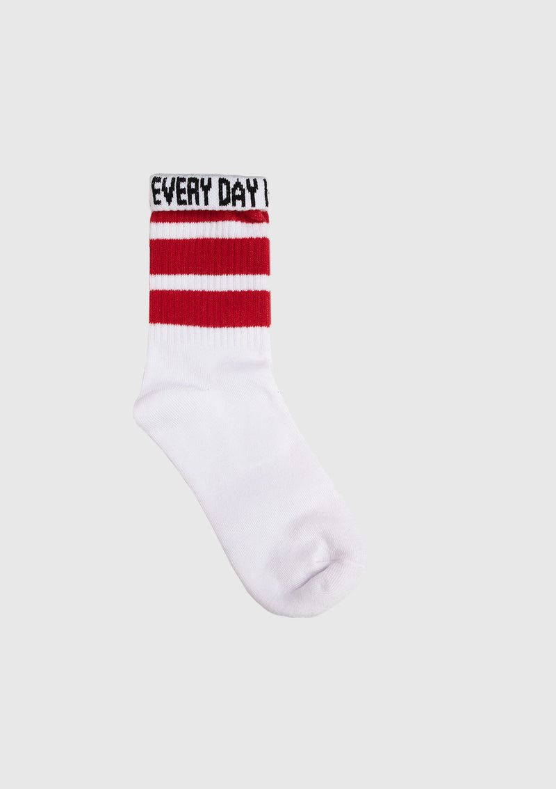 Striped Short Socks with Slogan Fold-Down Cuff in White Multi