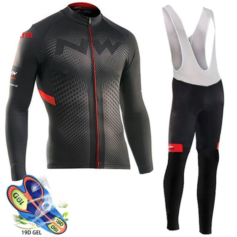 Men Winter Cycling Jersey Pants Sets Thermal Fleece Long Sleeve Bicycle Clothing