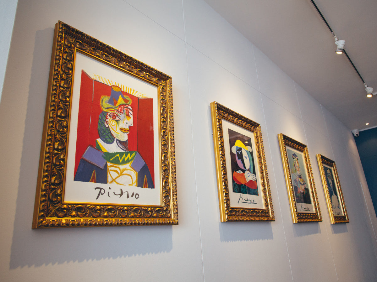 Framed limited edition Picasso art prints on display in London gallery
