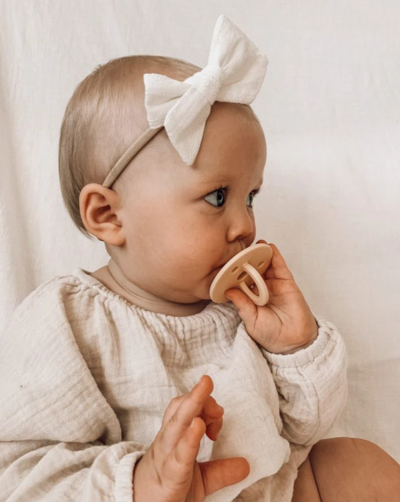 White Embroidery Bow Headband