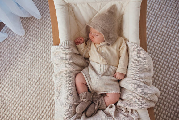 Cashmere Pixie Bonnet and Bootie Set - Latte