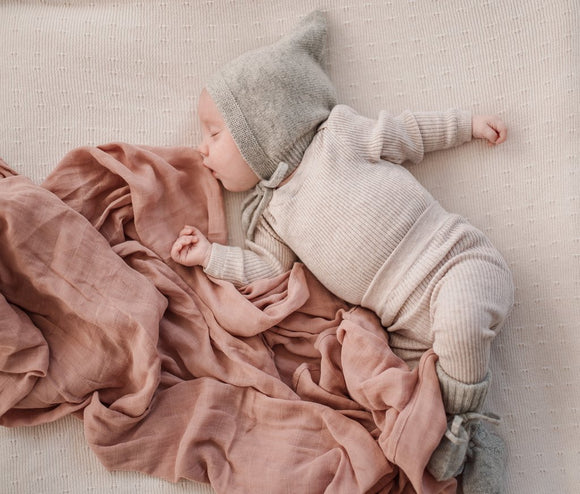 Cashmere Pixie Bonnet and Bootie Set - Cloud