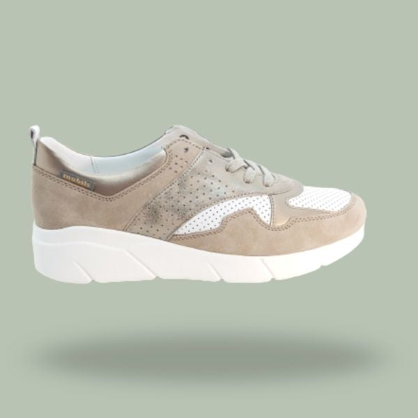 Deportiva casual cordón light taupe
