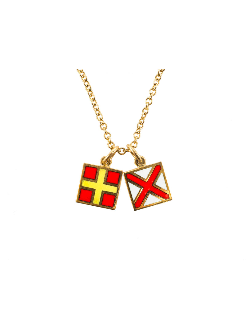 Nautical Signal Flag Initial Necklace