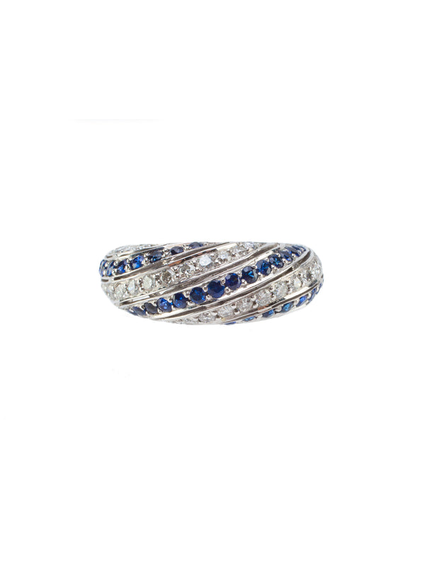 Halo Sapphire and Diamond Swirl Ring