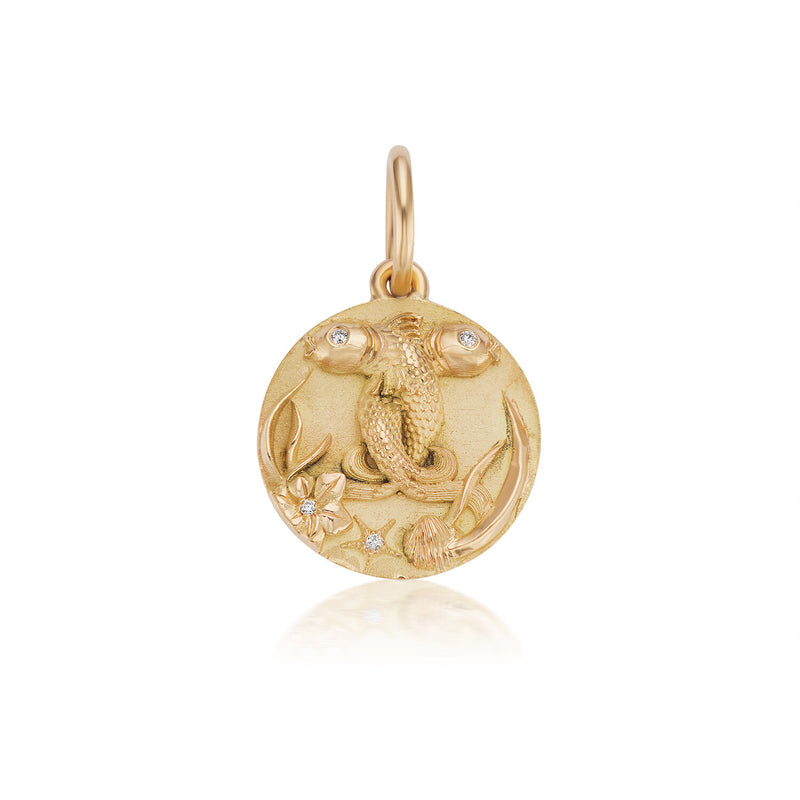Mini Pisces Zodiac Medallion