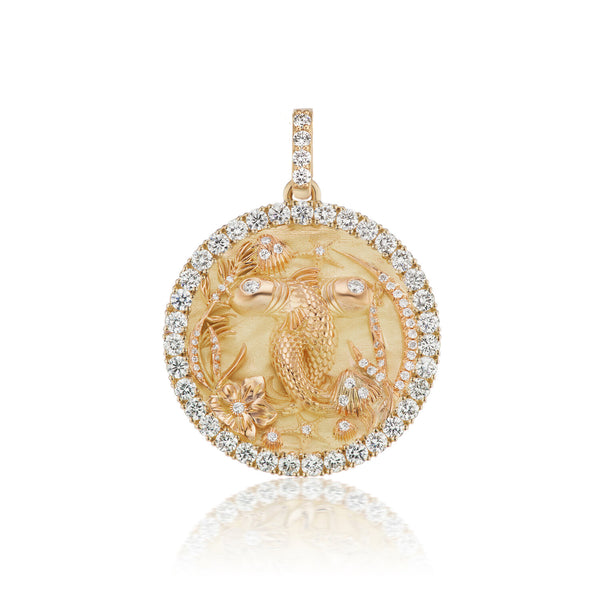 Diamond Pisces Zodiac Medallion