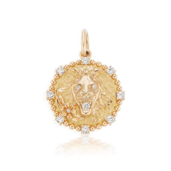 Medium Leo Diamond Zodiac Medallion