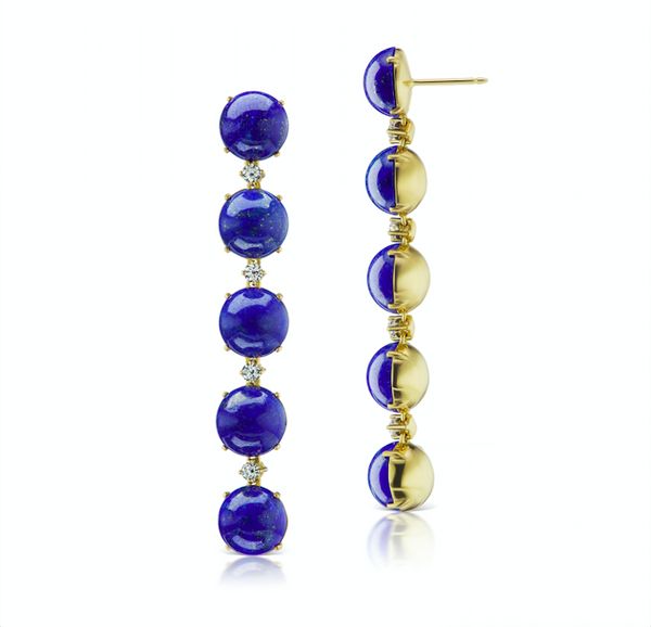 Confetti Lapis and Diamond Drop Earrings