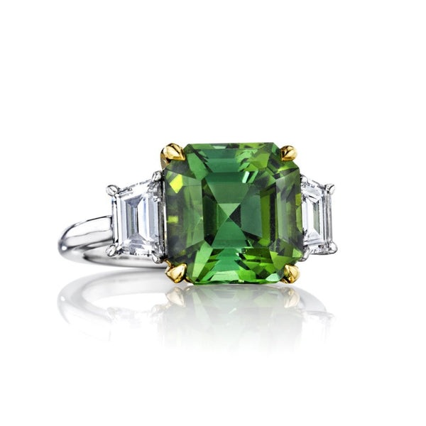 Asscher Cut Tourmaline & Diamond Ring