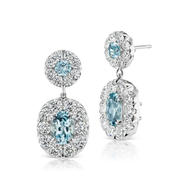 Halo Aquamarine Earrings