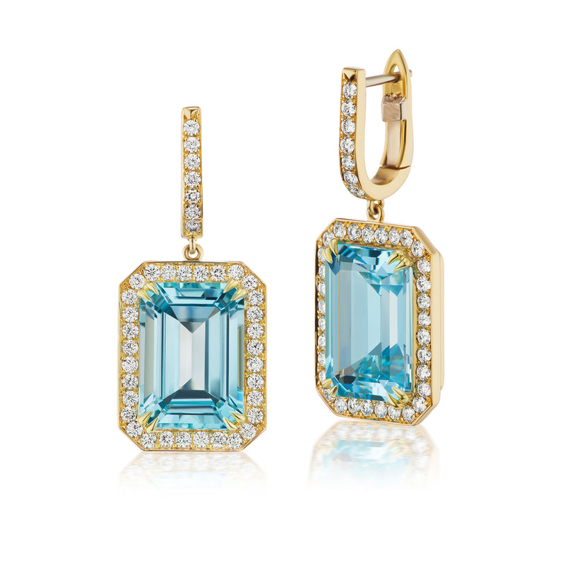 Constellation Sky Blue Topaz & Diamond Earrings