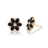 Confetti Cluster Onyx & Diamond Earrings