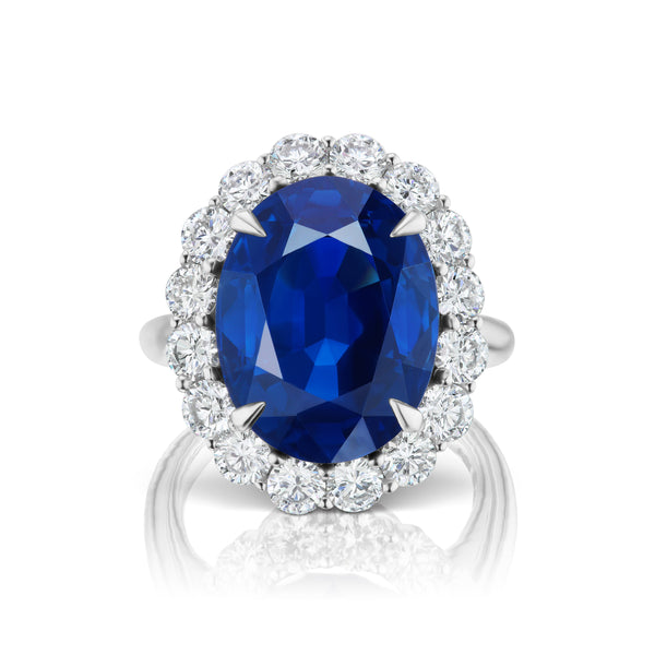 Halo Sapphire and Diamond Ring